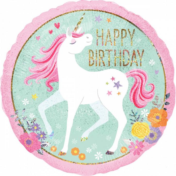 Folienballon Magical Unicorn Happy Birthday