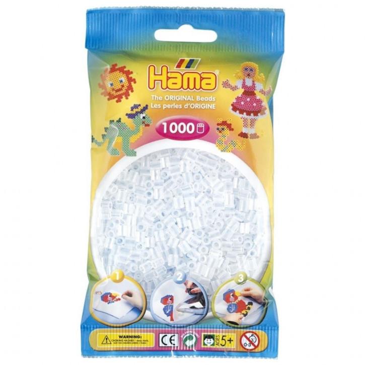 Bügelperlen 1000er Beutel weiß transparent