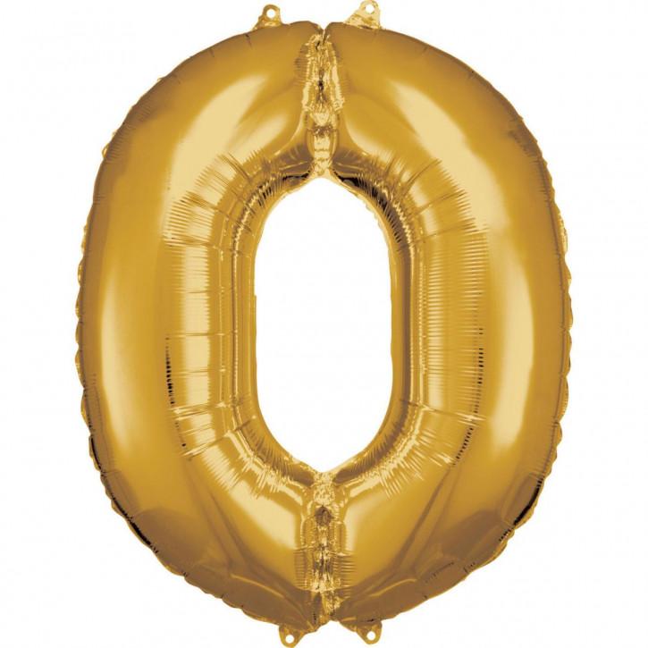 Folienballon Grosse Zahl 0 Gold