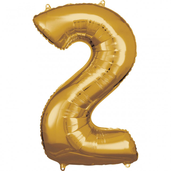 Folienballon Grosse Zahl 2 Gold