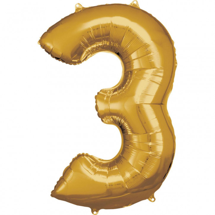 Folienballon Grosse Zahl 3 Gold