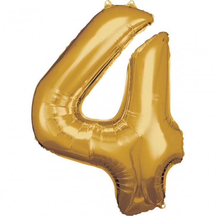 Folienballon Grosse Zahl 4 Gold