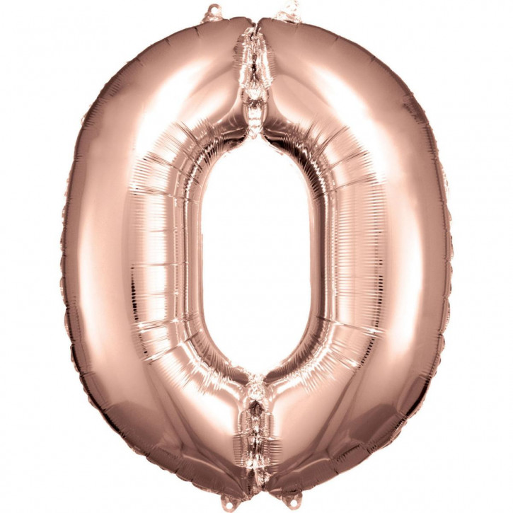 Folienballon Grosse Zahl 0 Rose Gold