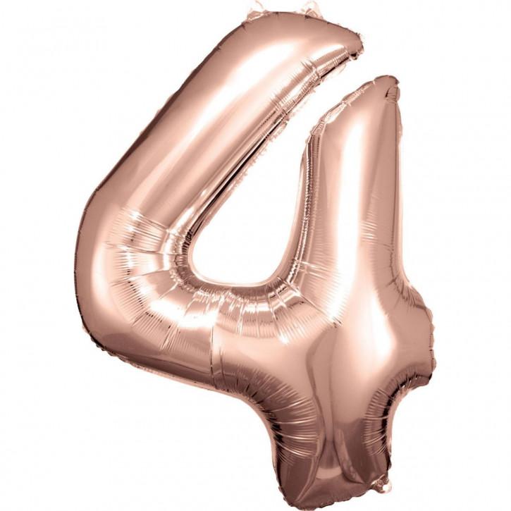 Folienballon Grosse Zahl 4 Rose Gold