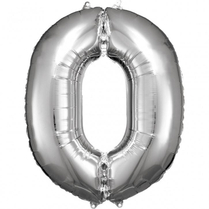 Folienballon Grosse Zahl 0 Silber