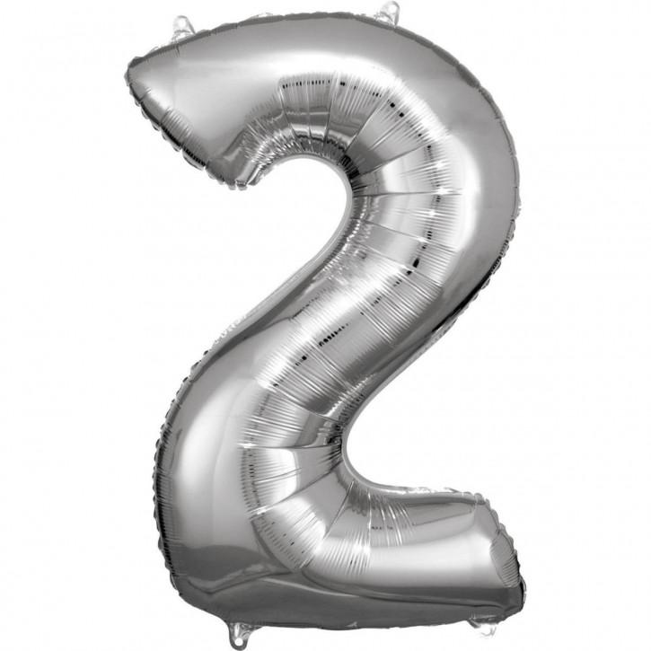 Folienballon Grosse Zahl 2 Silber