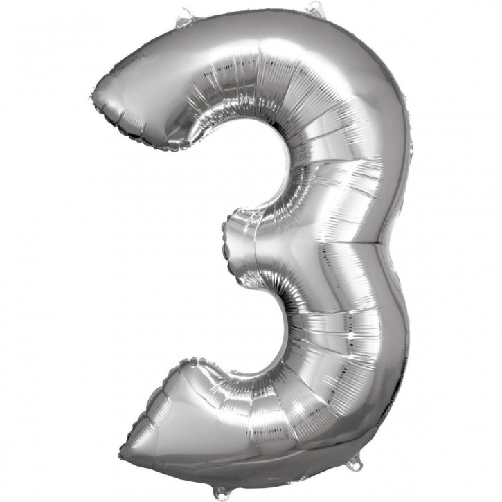 Folienballon Grosse Zahl 3 Silber