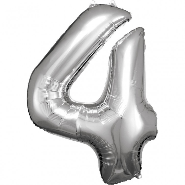 Folienballon Grosse Zahl 4 Silber