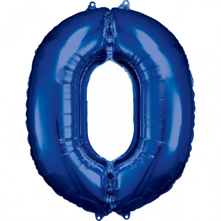 Folienballon Grosse Zahl 0 Blau