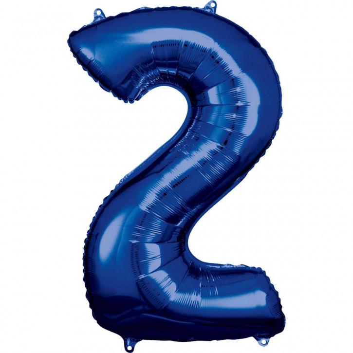 Folienballon Grosse Zahl 2 Blau