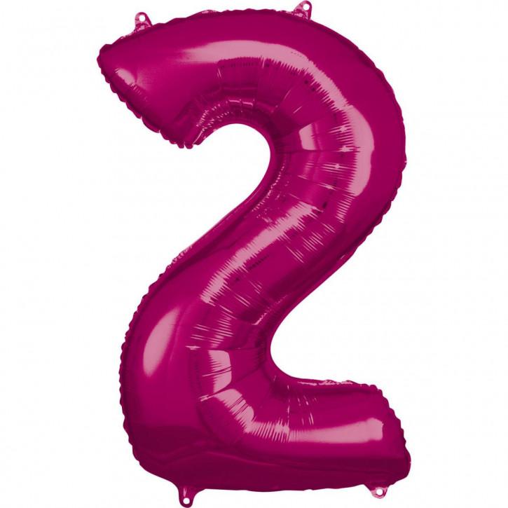 Folienballon Grosse Zahl 2 Pink