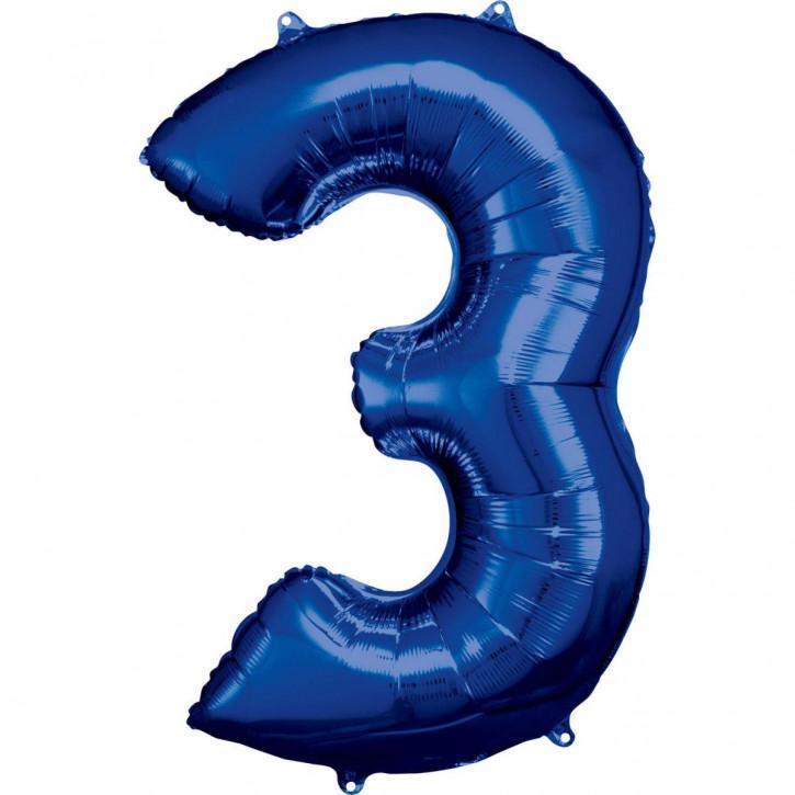 Folienballon Grosse Zahl 3 Blau