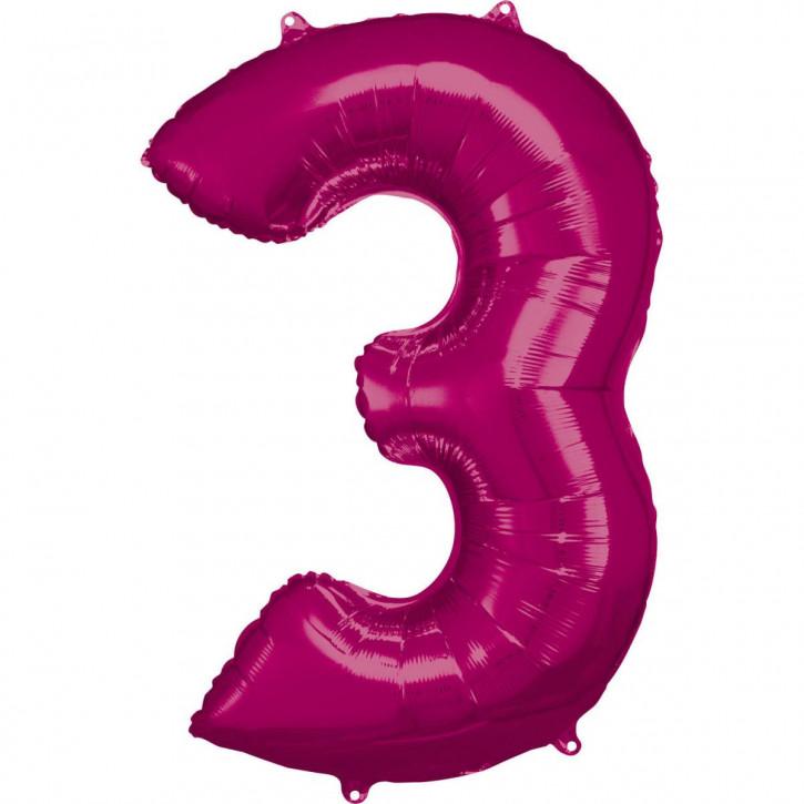Folienballon Grosse Zahl 3 Pink