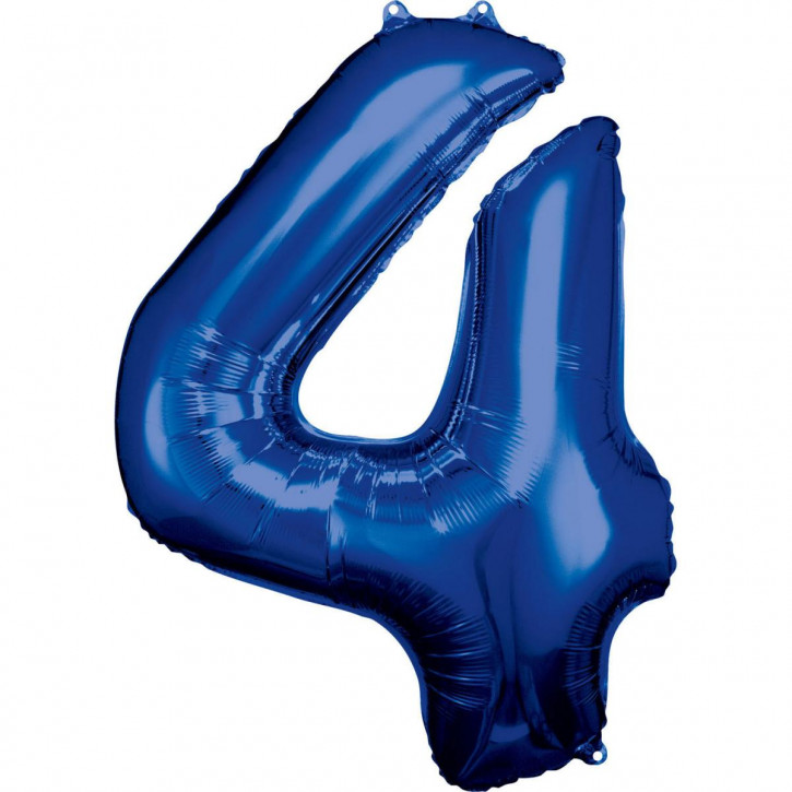 Folienballon Grosse Zahl 4 Blau
