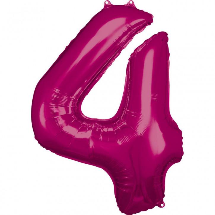 Folienballon Grosse Zahl 4 Pink