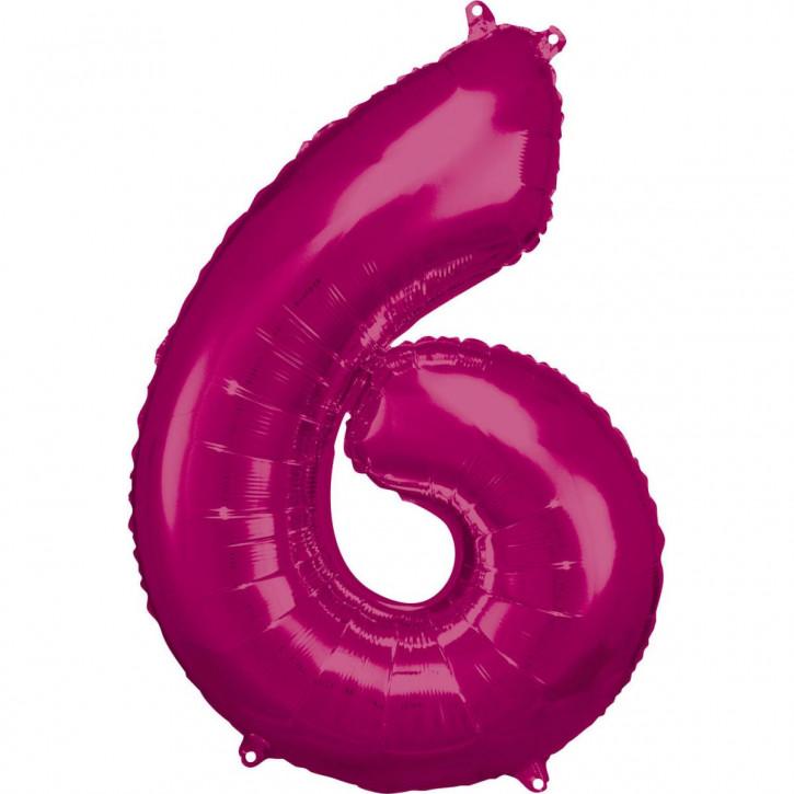 Folienballon Grosse Zahl 6 Pink