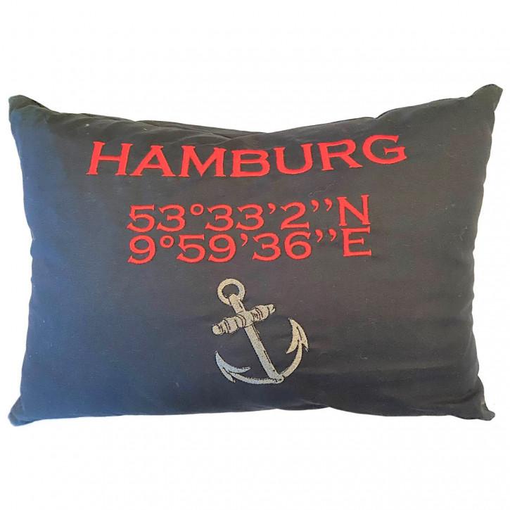 Städtekissen Hamburg mit Koordinaten