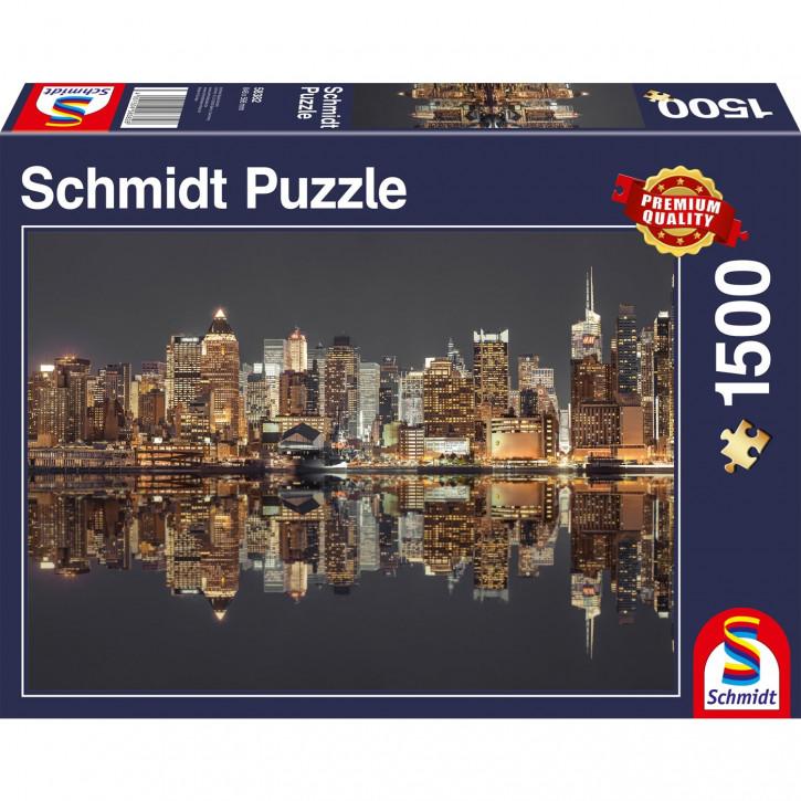 Puzzle 1500 Teile - New York -  Skyline bei Nacht