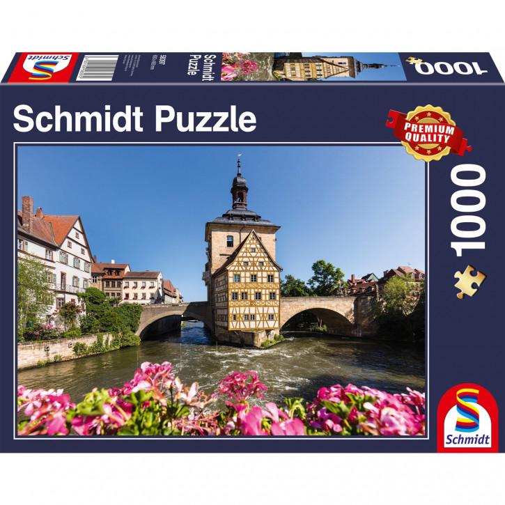 Puzzle 1000 Teile, Bamberg, Regnitz und Altes Rathaus