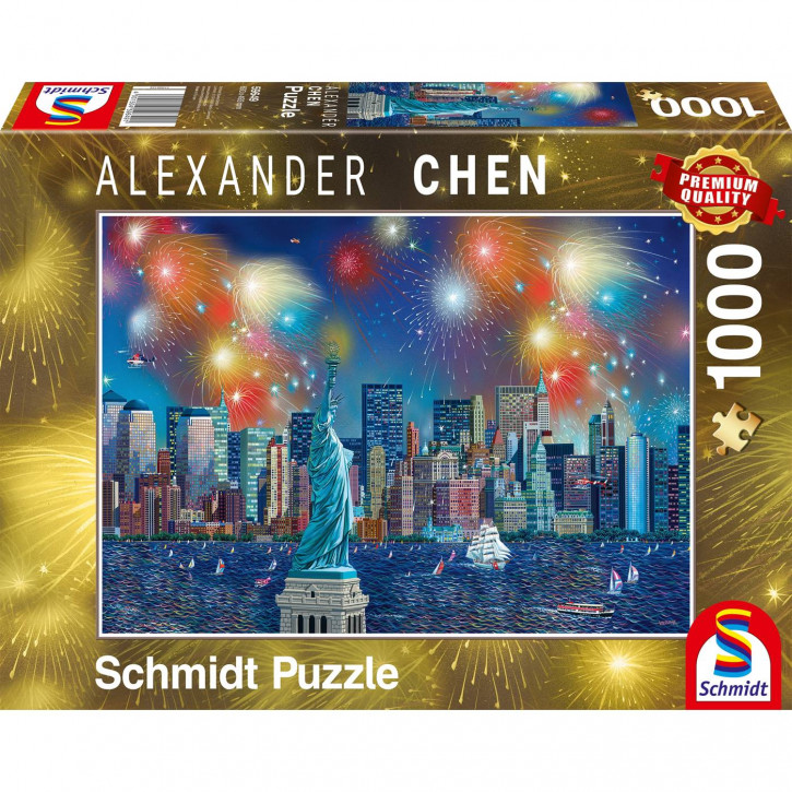 Puzzle 1000 Teile Freiheitsstatue mit Feuerwerk