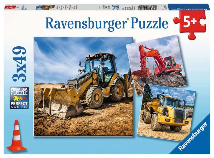 Puzzle 3 X 49 Teile Baufahrzeuge im Einsatz