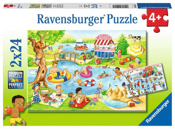 Puzzle 2 X 24 Teile Freizeit am See
