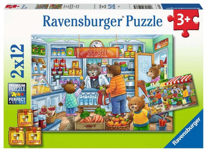 Puzzle 2 X 12 Teile Komm wir gehen einkaufen