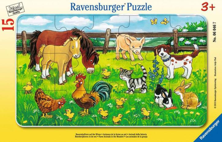 Rahmenpuzzles 15 Teile Bauernhoftiere auf d.Wiese