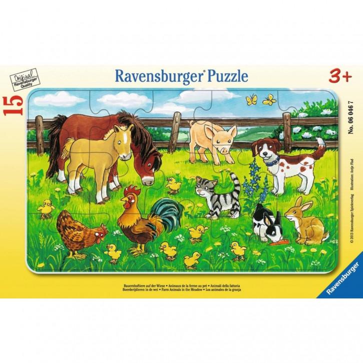 Rahmenpuzzle - Bauernhoftiere auf der Wiese
