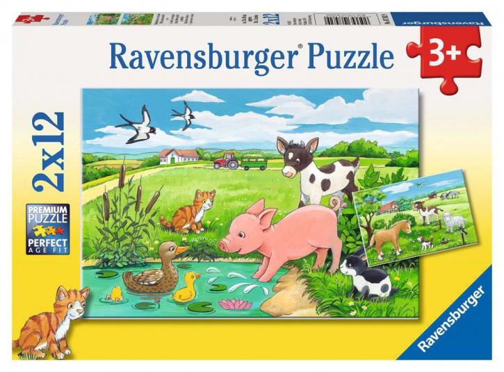 Puzzle 2 X 12 Teile Tierkinder auf dem Land