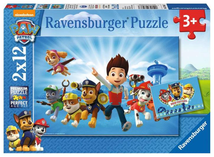 Puzzle 2 X 12 Teile PAW:Ryder u.die Paw Patrol