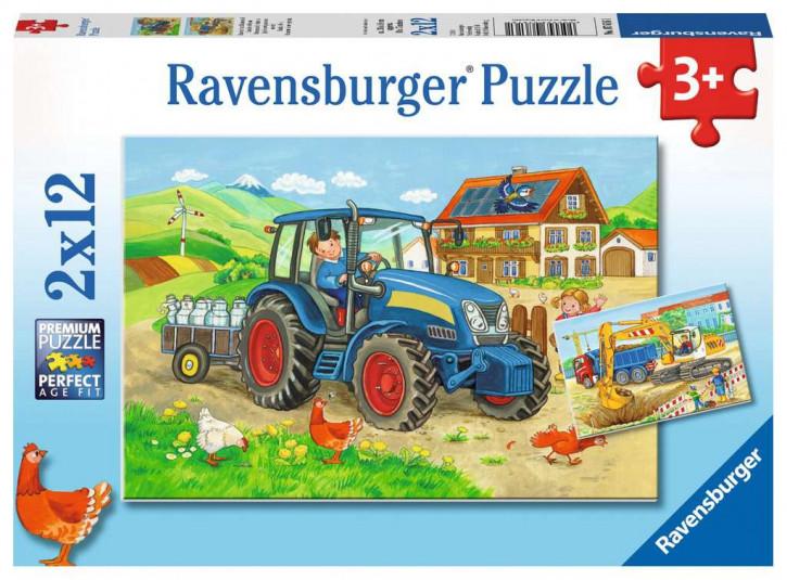 Puzzle 2 X 12 Teile Baustelle und Bauernhof