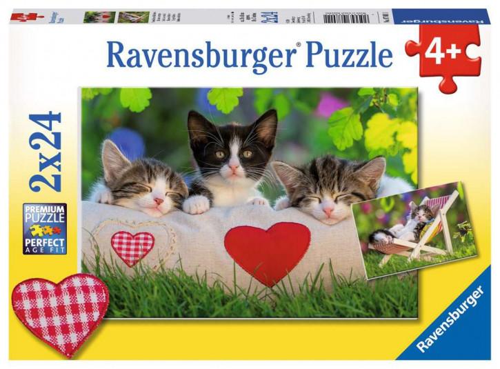 Puzzle 2 X 24 Teile Verschlafene Kätzchen