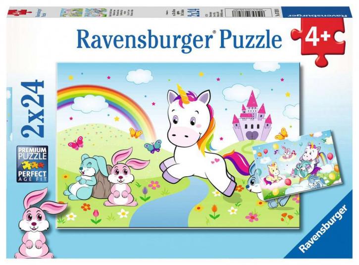 Puzzle 2 X 24 Teile Märchenhaftes Einhorn