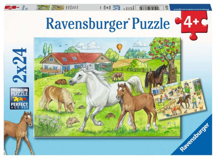 Puzzle 2 X 24 Teile Auf dem Pferdehof