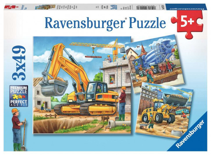 Puzzle 3 X 49 Teile Große Baufahrzeuge