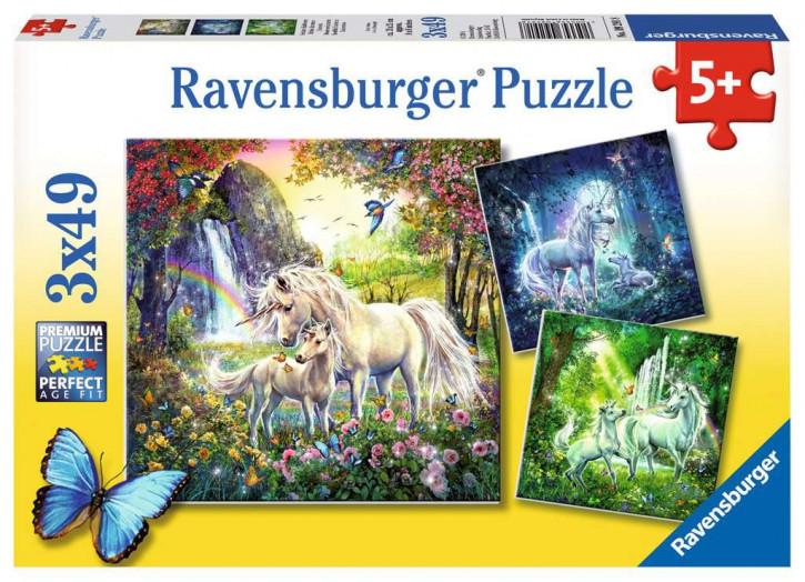 Puzzle 3 X 49 Teile Schöne Einhörner