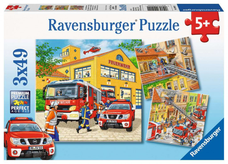 Puzzle 3 X 49 Teile Feuerwehreinsatz