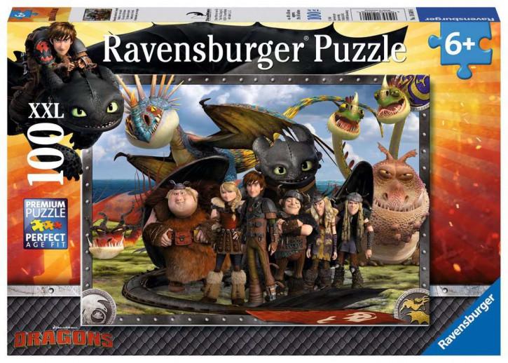Puzzle 100 Teile XXL Dragons, Ohnezahn und seine Freunde
