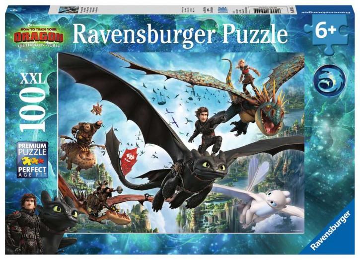 Puzzle 100 Teile XXL Dragons, Die verborgene Welt