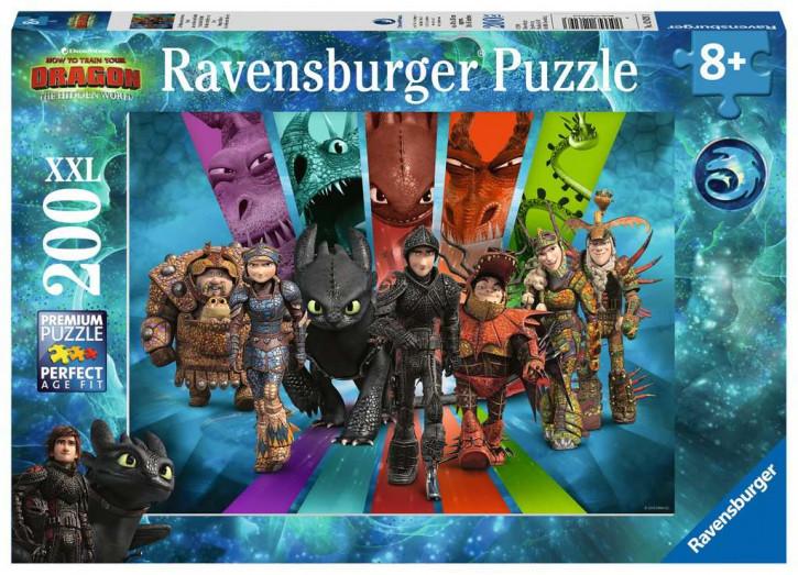 Puzzle 200 Teile XXL Dragons, Die Drachenreiter von Berk