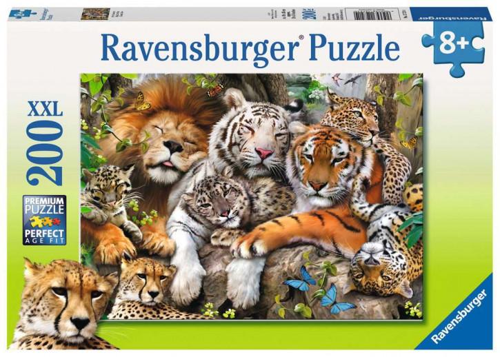 Puzzle 200 Teile XXL Schmusende Raubkatze