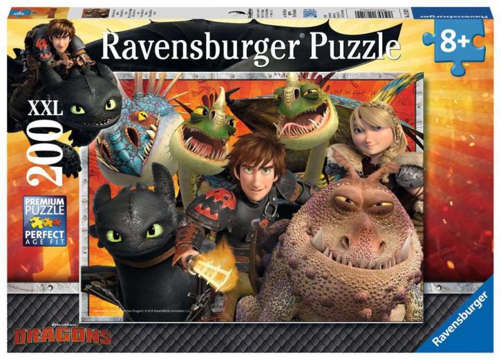 Puzzle 200 Teile XXL Dragons, Hicks, Astrid und die Drachen