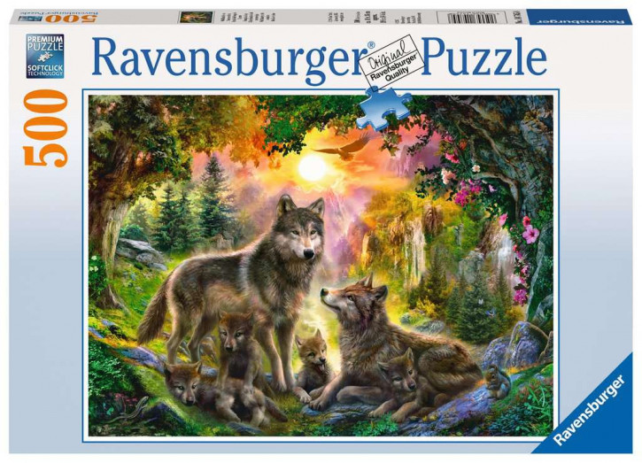 Puzzle 500 Teile Wolfsfamilie im Sonnenschein