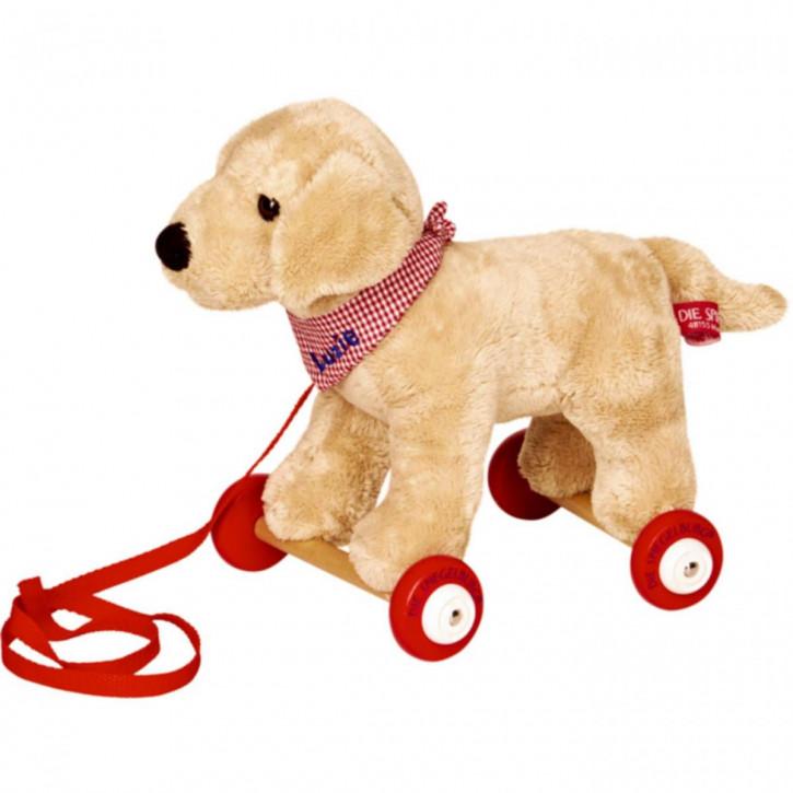 Labrador Luzie auf Holzrollen Lustige Tierparade
