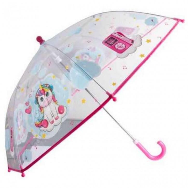 Regenschirm transparent Einhorn Musik