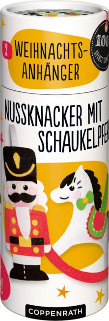 Näh-Set: 2 Weihnachtsanhänger - Nussknacker/Schaukelpferd