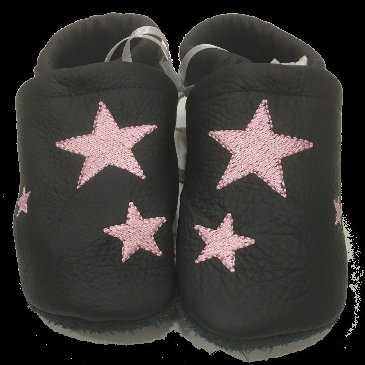 Lederpuschen mit rosa Sternen