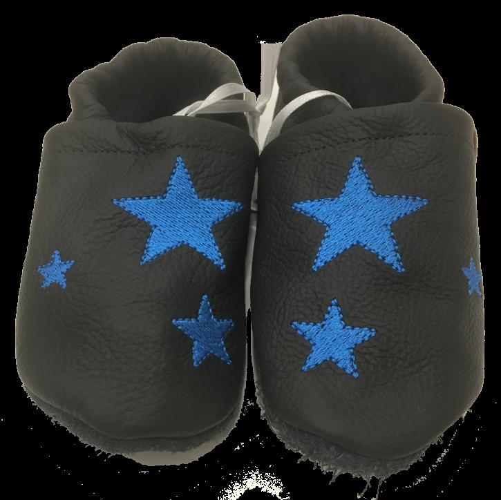 Lederpuschen mit blauen Sternen