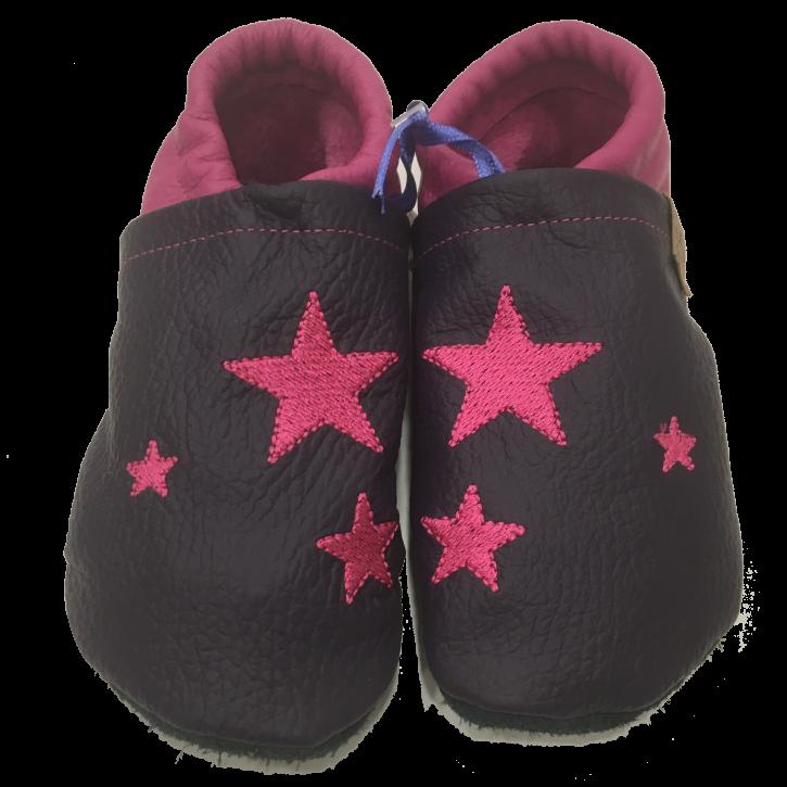 Lederpuschen mit pinken Sternen